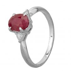 Second Hand Platinum 1.70ct Ruby and 0.10ct Diamond Solitaire Ring