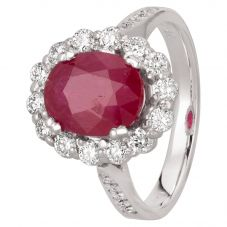 Second Hand 18ct White Gold 3.20ct Ruby and 0.65ct Diamond Cluster Ring