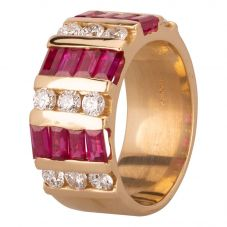 Second Hand 14ct Yellow Gold 1.80ct Baguette Cut Ruby and 0.85ct Diamond Ring