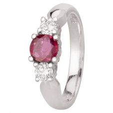 Second Hand 14ct White Gold 0.70ct Ruby and 0.35ct Diamond Three Stone Ring