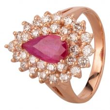 Second Hand 14ct Rose Gold 1.00ct Pear Shaped Ruby and 1.00 Diamond Cluster Ring