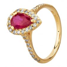 Second Hand 14ct Yellow Gold 1.10ct Pear Shaped Ruby and 0.40ct Diamond Halo Ring