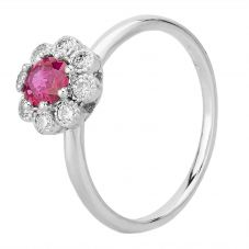 Second Hand 14ct White Gold Ruby and Diamond Flower Cluster Ring