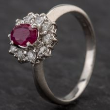Second Hand Platinum Oval 0.30ct Ruby & 0.56ct Diamond Cluster Ring 4335086