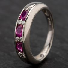 Second Hand Platinum 0.60ct Ruby & 0.12ct Diamond Half Eternity Ring