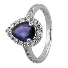 Second Hand Platinum 2.00ct Sapphire and Diamond Pear Shaped Halo Ring