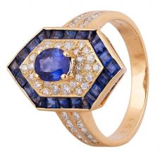 Second Hand 18ct Yellow Gold 2.10ct Sapphire and Diamond Shield Ring
