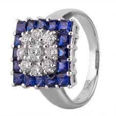 Second Hand Platinum 1.65ct Sapphire and Diamond Squared Cluster Ring