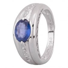 Second Hand Platinum 1.50ct Sapphire and Diamond Shoulders Ring