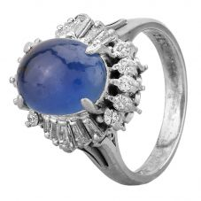 Second Hand Platinum 5.50ct Cabochon Cut Sapphire and Diamond Cluster Ring