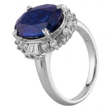 Second Hand Platinum 5.00ct Sapphire and 0.60ct Diamond Cluster Ring