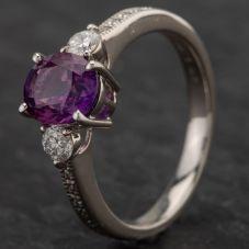 Second Hand Platinum 1.62ct Purple Sapphire & 0.27ct Diamond Three Stone Ring