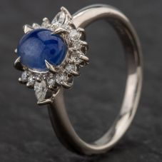 Second Hand Platinum 2.04ct Cabochon Sapphire & 0.19ct Diamond Cluster Ring 4336074