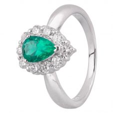 Second Hand Platinum 0.75ct Emerald and Diamond Halo Ring