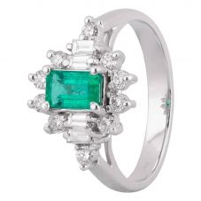 Second Hand 18ct White Gold 0.50ct Emerald and Diamond Cluster Ring