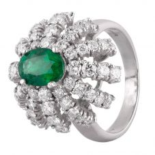 Second Hand 14ct White Gold 1.10ct Emerald and Diamond Dome Ring