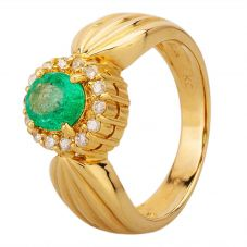 Second Hand 18ct Yellow Gold Emerald and Diamond Cluster Ring