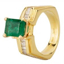 Second Hand 14ct Yellow Gold Emerald and Diamond Ring