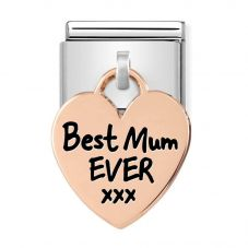 Nomination CLASSIC Composable Limited Edition Rose Gold Heart Pendant Best Mum Ever Charm 431802/01