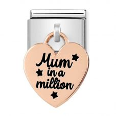 Nomination CLASSIC Composable Limited Edition Rose Gold Heart Pendant Mum In A Million Charm 431802/02