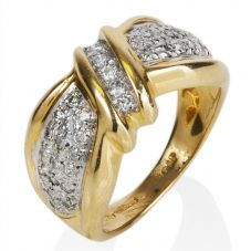 Second Hand 14ct Yellow Gold Multi Diamond Bow Ring 4332505