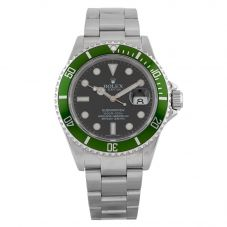 Second Hand Rolex Submariner Mens Stainless Steel Oyster Perpetual 50TH ANNIVERSARY Black Dial Watch 116610LV(15016)
