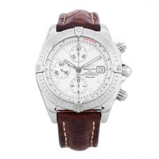 Second Hand Breitling Chronomat Evolution Brown Leather Strap Watch A13356