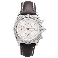 Second Hand Breitling Mens Automatic Chronograph Date Wheel with Black Leather Strap Watch 18(11/19)