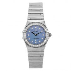 Second Hand OMEGA Constellation My Choice 18ct White Gold Diamond Set Blue Bracelet Watch B511620(444)