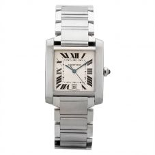Second Hand Cartier Tank Francaise Square Silver Bracelet Watch 2302