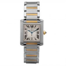 Second Hand Cartier Tank Francaise Square Two Tone Bracelet Watch 2302