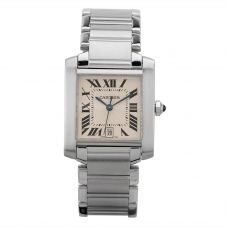 Second Hand Cartier Tank Francaise Square Silver Bracelet Watch -2 4407015