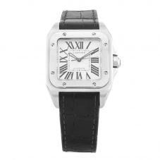 Second Hand Cartier Santos Black Leather Strap Watch 2878