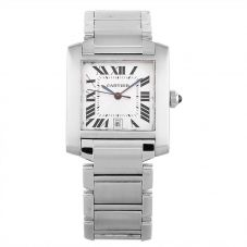 Second Hand Cartier Midi Tank Francaise Silver Bracelet Watch 4408021