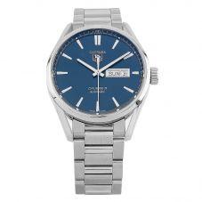 Second Hand TAG Heuer Carrera Calibre 5 Day-Date Blue Bracelet Watch WAR201E.BA0723