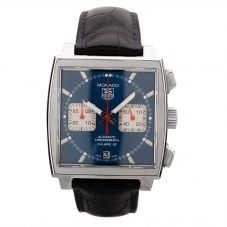 Second Hand TAG Heuer Monaco Calibre 12 Blue Leather Strap Watch CAW2111