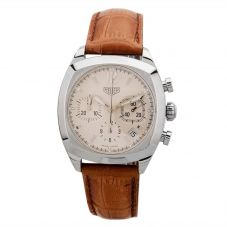 Second Hand TAG Heuer Monza Chronograph Brown Leather Strap Watch CR2111