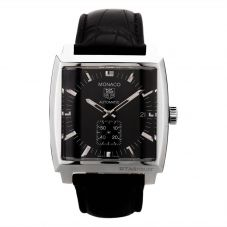 Second Hand TAG Heuer Monaco Black Leather Strap Watch R517220(456)