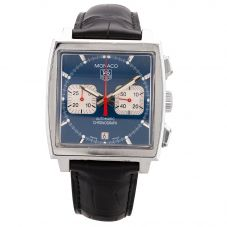 Second Hand TAG Heuer Mens Monaco Automatic Black Leather Strap Watch CW2113.FC6183