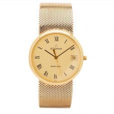 Second Hand Eterna 9ct Yellow Gold Mesh Watch 4410048