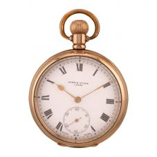 Second Hand Harris Stone Gold Plated Mechanical Open Case Pocket Watch Q600508(442)