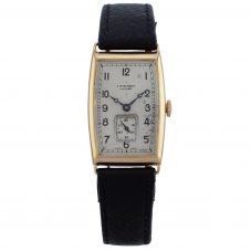 Second Hand J.W. Benson London 18ct Gold 1939 Mechanical Black Leather Strap Watch B490191(426)