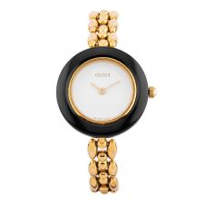 Second Hand Gucci Gold Plated Bracelet Watch with 11 Interchangeable Bezels 11/12.2