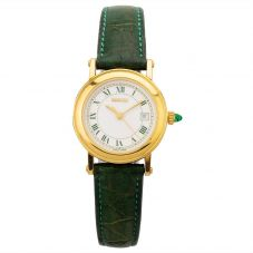 Second Hand Gucci Gold Plated Green Leather Strap Watch 7200L (Q600413)