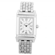 Second Hand Jaeger LeCoultre Reverso Diamond Silver Bracelet Watch 265.8.47