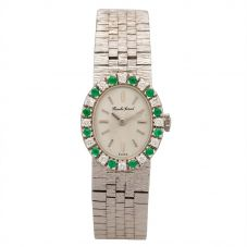 Second Hand Bueche Girod White Gold Diamond and Emerald Bracelet Watch A511606(441)
