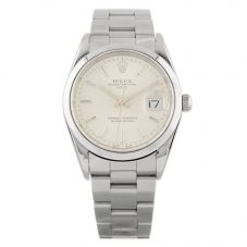 Second Hand Rolex Mens Oyster Perpetual Date Silver Dial Stainless Steel Watch 163(10/20)