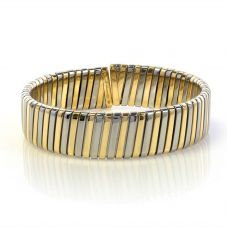 Second Hand Bulgari 18ct Two Colour Gold Open Bangle MWT(23)