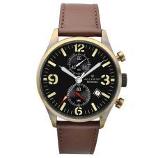 Accurist Mens Chronograph Brown Leather Strap Watch 7023