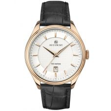 Accurist Mens Black Leather Strap Watch 7265